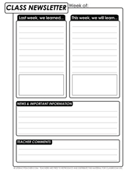 Free classroom newsletter template for all grades for 5th grade newsletter template